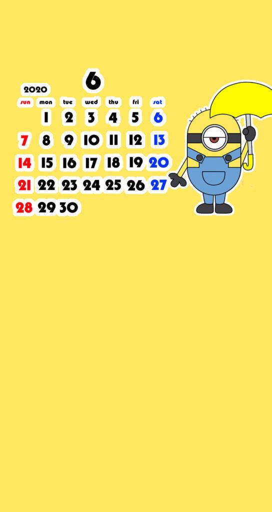 ミニオンズ風 2020年6月 スマホ壁紙待ち受けカレンダー Android用