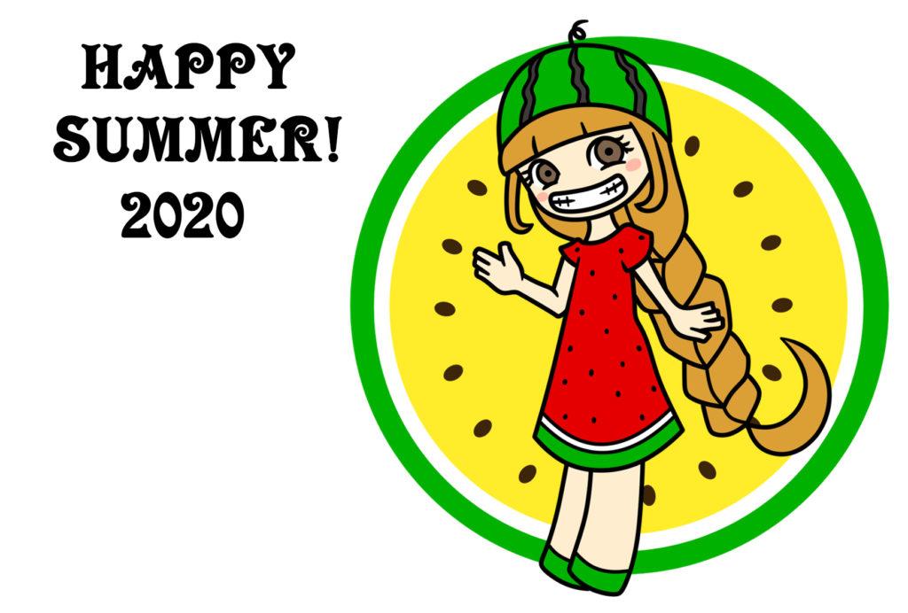 暑中見舞い 残暑見舞い 2020年 スイカ 女の子 令和2年