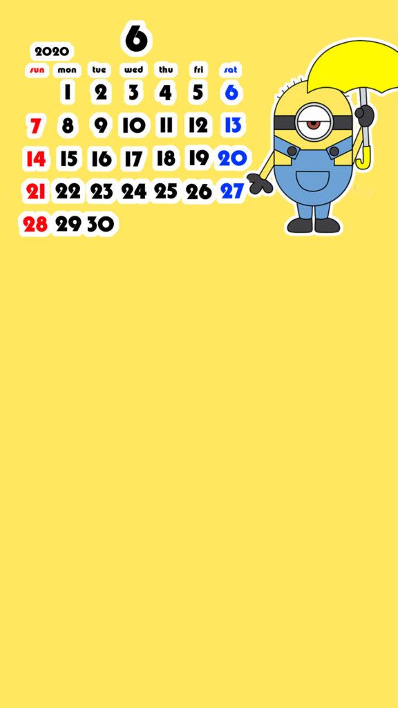 ミニオンズ風 2020年6月 スマホ壁紙待ち受けカレンダー iPhone用