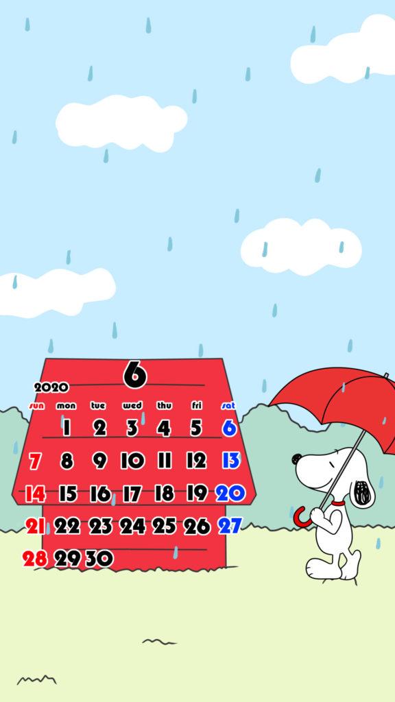 スヌーピー風 2020年6月 スマホ壁紙待ち受けカレンダー iPhone用