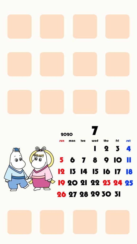 ムーミン風 2020年7月 ムーミン フローレン スマホ壁紙待ち受けカレンダー iPhone用