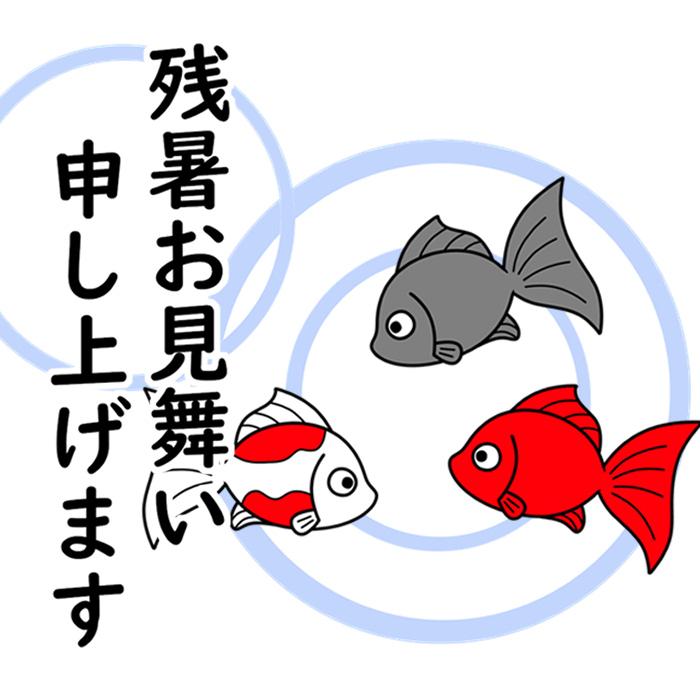 残暑見舞い ラインスタンプ メール 無料ダウンロード 金魚 2020年 令和2年
