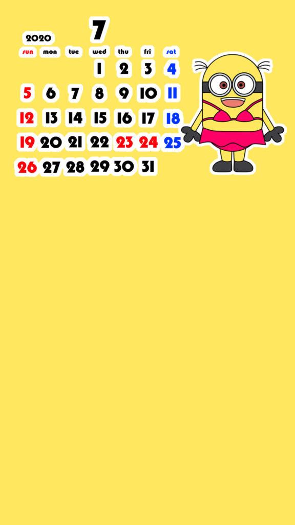 ミニオンズ風 2020年7月 スマホ壁紙待ち受けカレンダー iPhone用