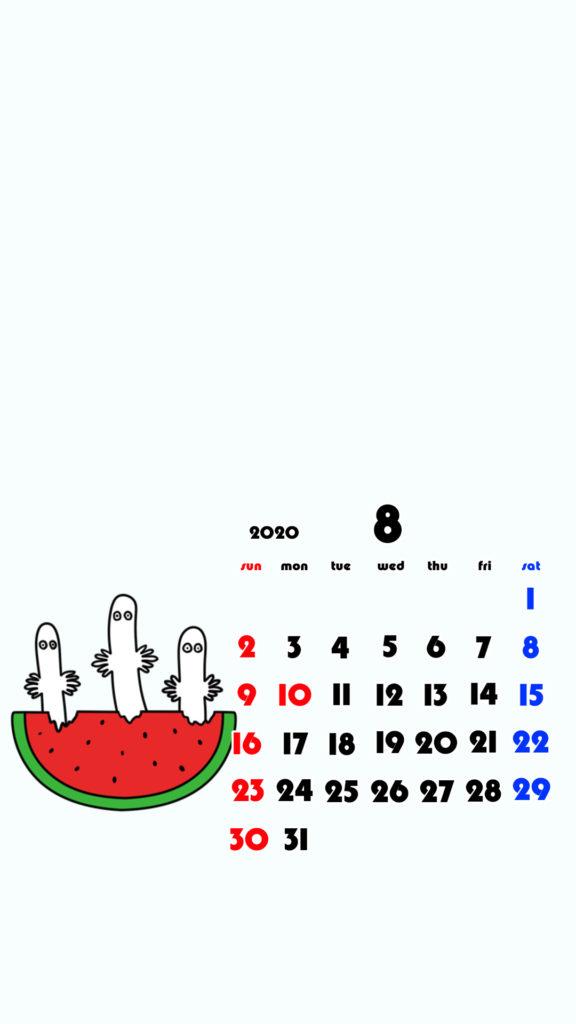 ムーミン風 2020年8月 ムーミン ニョロニョロ スマホ壁紙待ち受けカレンダー Android用