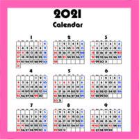 令和3年 年間カレンダー 背景透過シンプル 無料ダウンロード・印刷