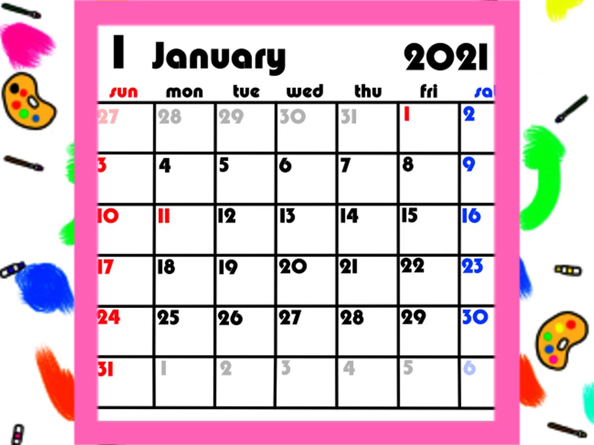 令和3年 シンプル月間カレンダー 背景透過 英字 日曜始まり 無料ダウンロード・印刷
