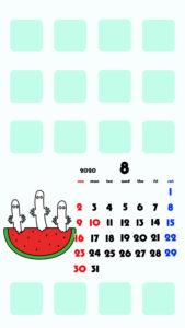 ムーミン風 2020年8月 ムーミン ニョロニョロ スマホ壁紙待ち受けカレンダー iPhone用
