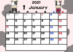 2021年カレンダー 無料ダウンロード 干支 動物 月曜始まり 令和3年1月