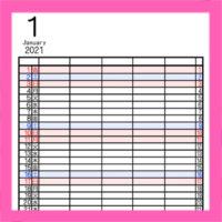 令和3年シンプル家族カレンダー 5人用 背景透過のPNG形式 無料ダウンロード・印刷