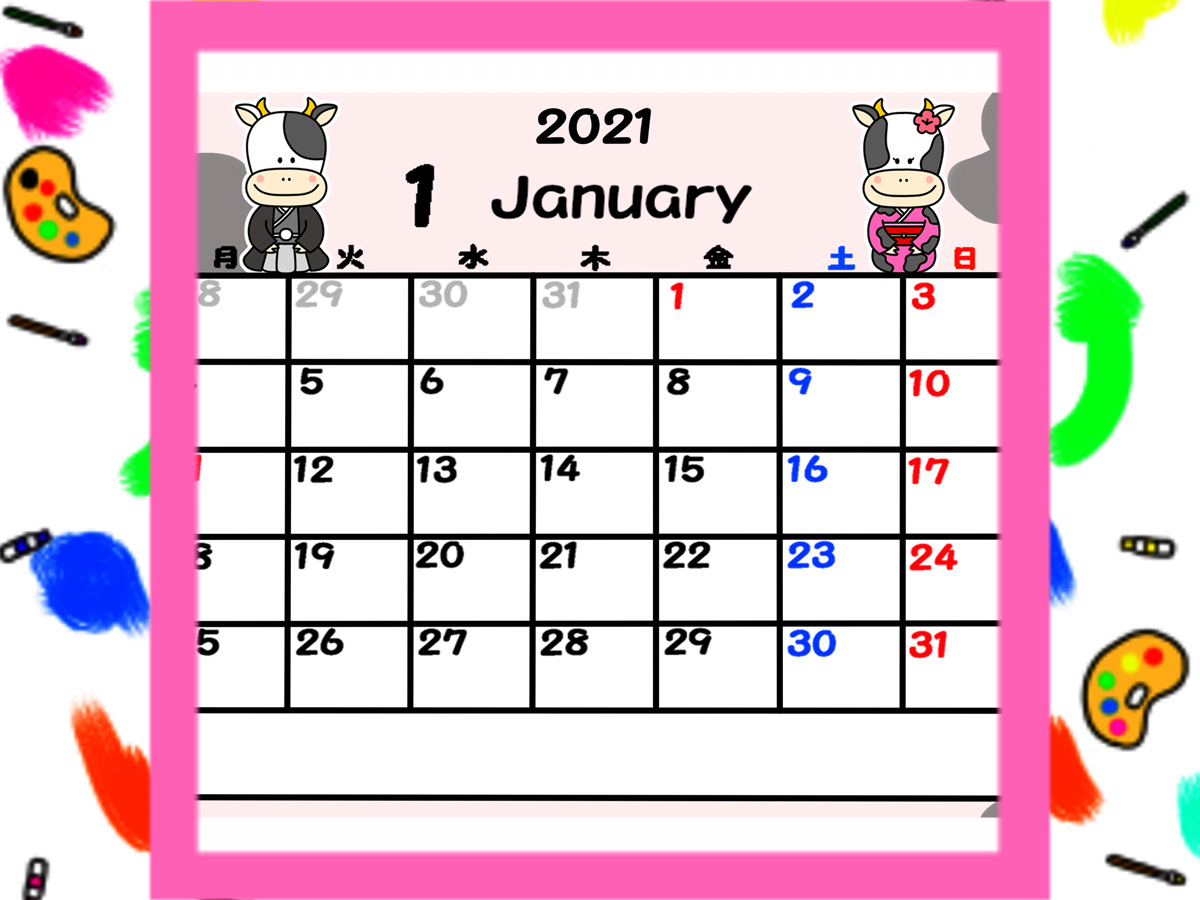 2021年 牛の月間カレンダー 月曜始まり 無料ダウンロード・印刷