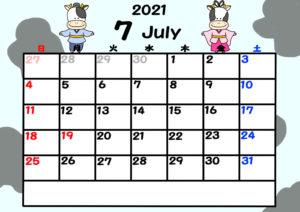2021年カレンダー 無料ダウンロード 干支 動物 日曜始まり 令和3年7月