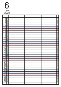 2021年家族カレンダー シンプル 背景透過PNG形式 3人用 6月