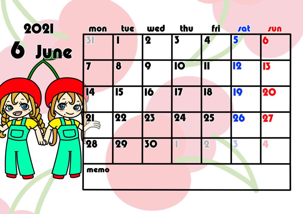 2021年月間カレンダー 季節の果物 女の子 月曜始まり 令和3年6月