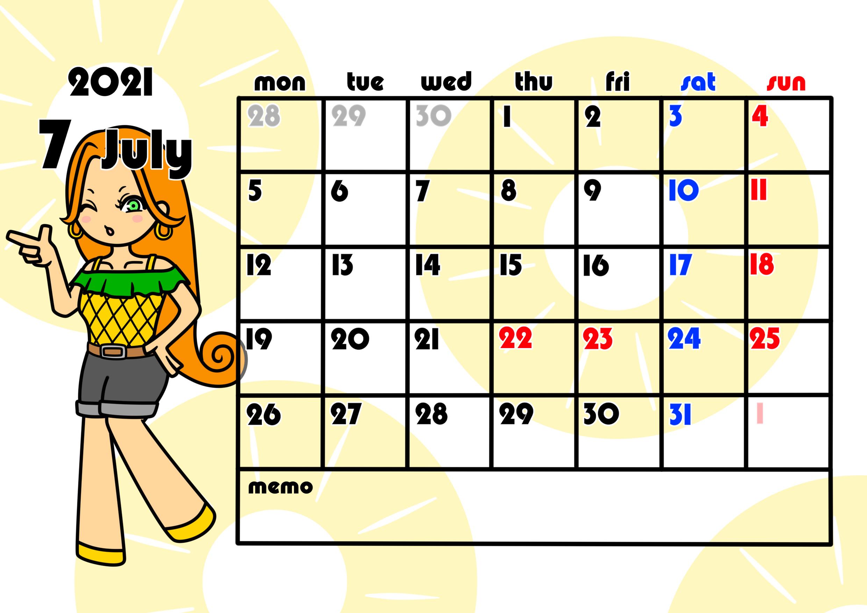 2021年月間カレンダー 季節の果物 女の子 月曜始まり 令和3年7月
