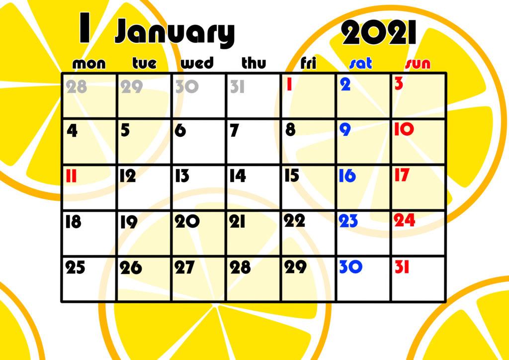 2021年月間カレンダー 果物 フルーツ 令和3年1月 オレンジ みかん