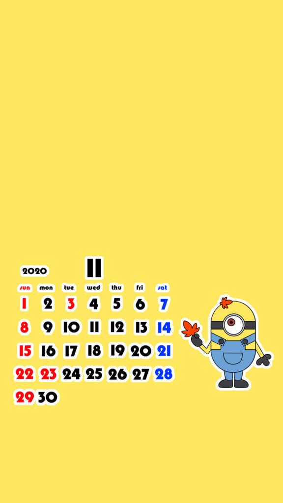 ミニオンズ風 2020年11月 スマホ壁紙待ち受けカレンダー iPhone用