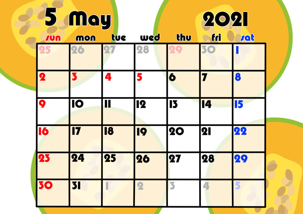 2021年月間カレンダー 果物 フルーツ 令和3年5月 メロン