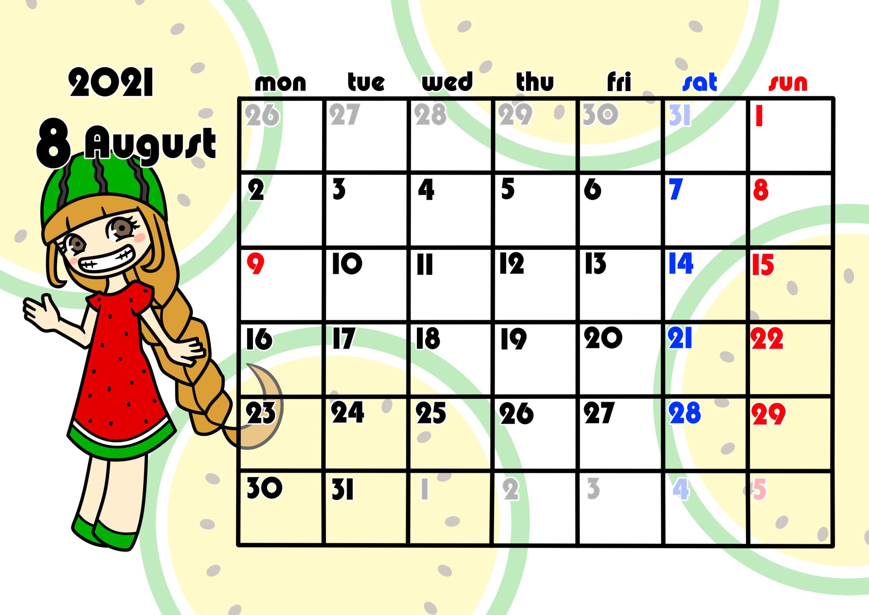 2021年月間カレンダー 季節の果物 女の子 月曜始まり 令和3年8月