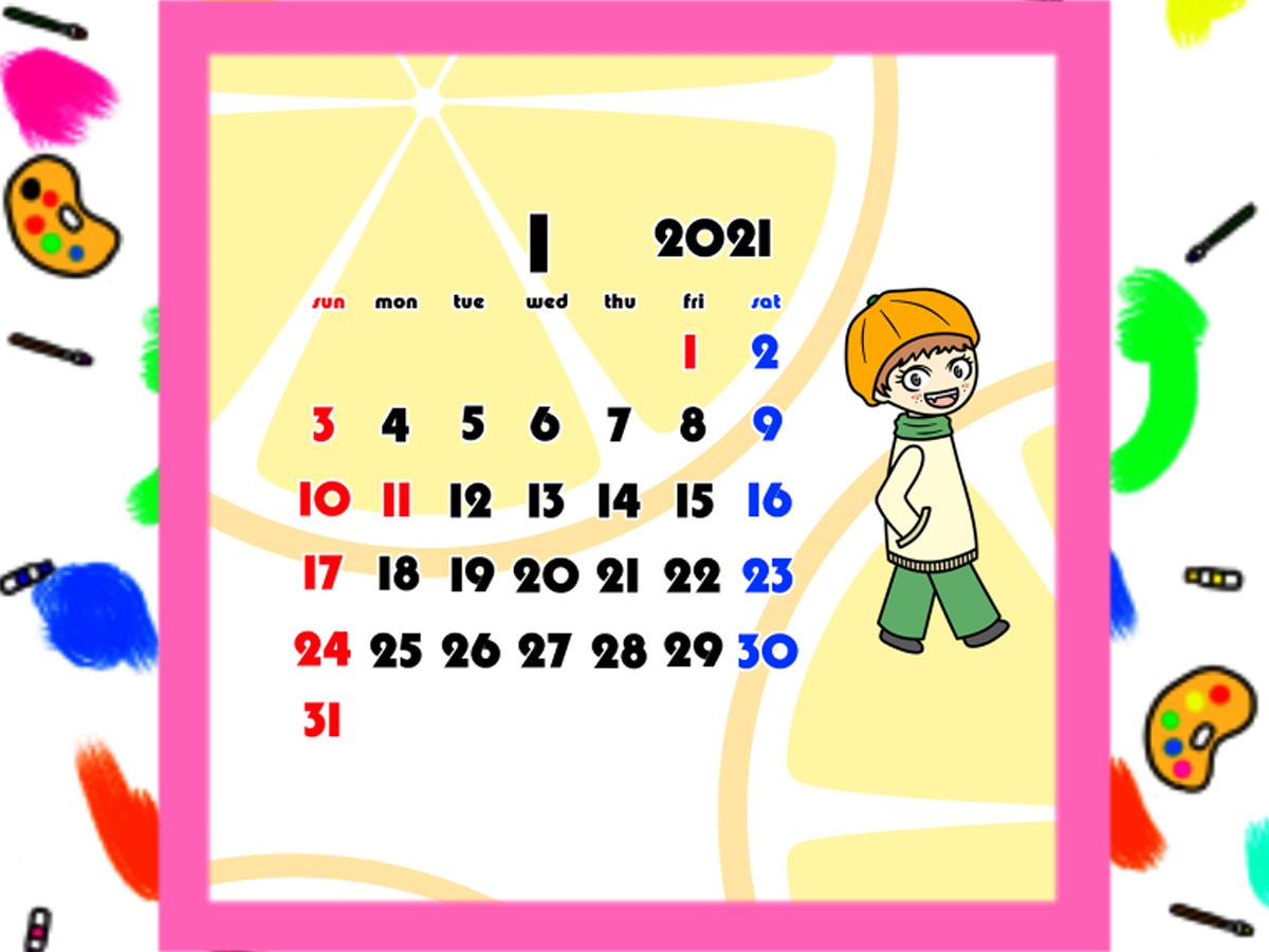 2021年 女の子と果物の待ち受けカレンダー スマホ壁紙無料ダウンロード