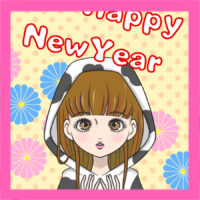 2021年 昭和レトロ風女の子の年賀状 無料テンプレート 印刷してご自由にお使いください