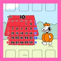 スヌーピー風 2020年10月用待ち受けカレンダー スマホ壁紙無料ダウンロード