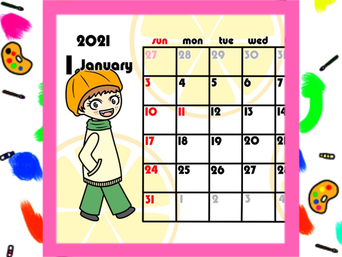 2021年女の子とフルーツ月間カレンダー 日曜始まり 無料ダウンロード・印刷