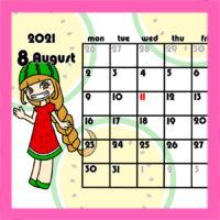 令和3年女の子とフルーツ月間カレンダー 月曜始まり 無料ダウンロード・印刷