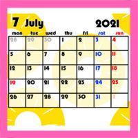 令和3年果物柄月間カレンダー 月曜始まり 無料ダウンロード・印刷