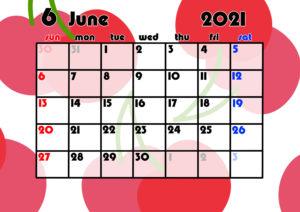 2021年月間カレンダー 果物 フルーツ 令和3年6月 さくらんぼ