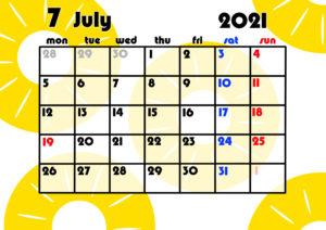 2021年月間カレンダー 果物 フルーツ 令和3年7月 パイナップル