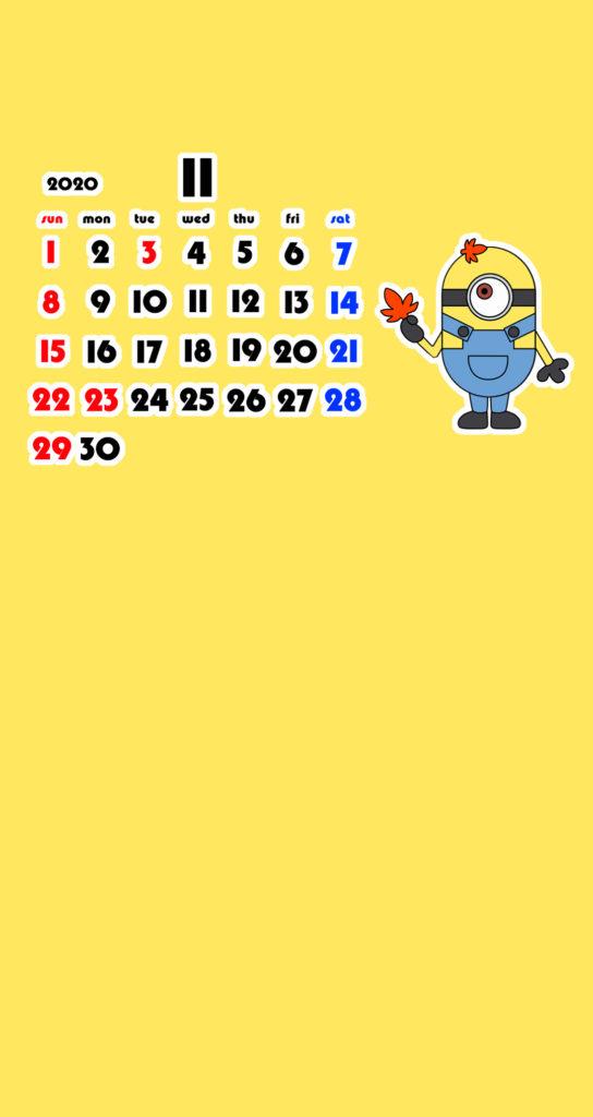 ミニオンズ風 2020年11月 スマホ壁紙待ち受けカレンダー Android用