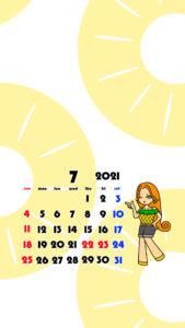 2021年 女の子 果物 フルーツ スマホ壁紙待ち受けカレンダー iPhone Android 令和3年7月 パイナップル