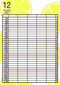 2021年家族カレンダー 無料ダウンロード 果物 フルーツ 5人用 令和3年12月 柚子 レモン