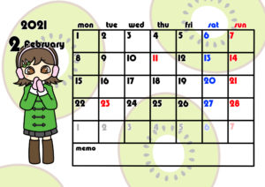 2021年月間カレンダー 季節の果物 女の子 月曜始まり 令和3年2月
