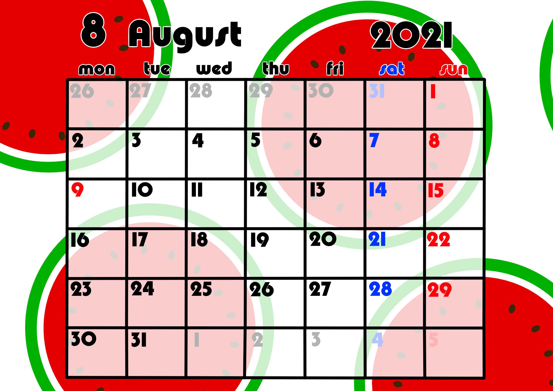 2021年月間カレンダー 果物 フルーツ 令和3年8月 スイカ