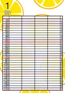 2021年家族カレンダー 無料ダウンロード 果物 フルーツ 4人用 令和3年1月オレンジ