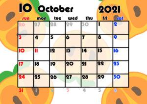 2021年月間カレンダー 果物 フルーツ 令和3年10月 柿
