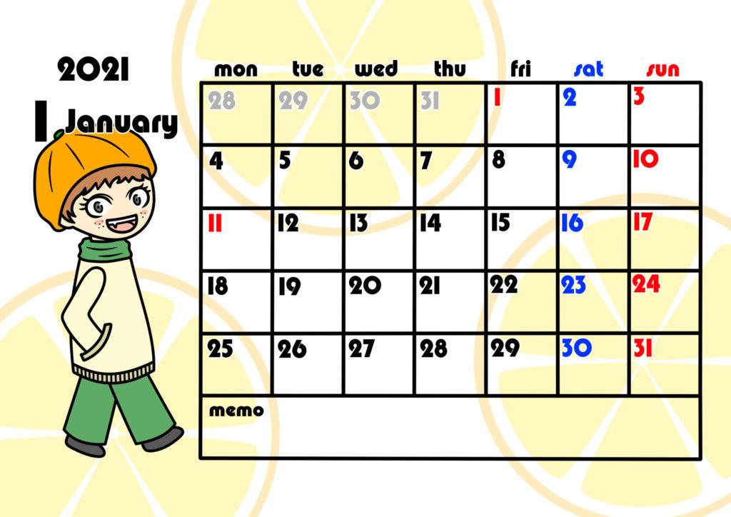 2021年月間カレンダー 季節の果物 女の子 月曜始まり 令和3年1月