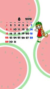 2021年 女の子 果物 フルーツ スマホ壁紙待ち受けカレンダー iPhone Android 令和3年8月 スイカ