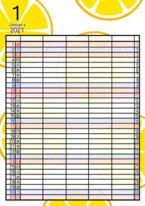 2021年家族カレンダー 無料ダウンロード 果物 フルーツ 5人用 令和3年1月オレンジ