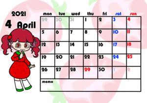 2021年月間カレンダー 季節の果物 女の子 月曜始まり 令和3年4月