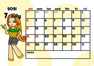 2021年月間カレンダー 季節の果物 女の子 日曜始まり 令和3年7月