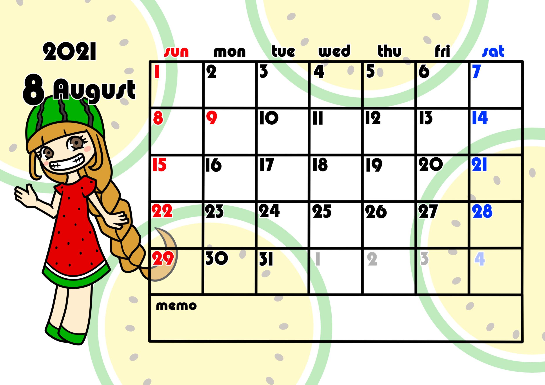 2021年月間カレンダー 季節の果物 女の子 日曜始まり 令和3年8月