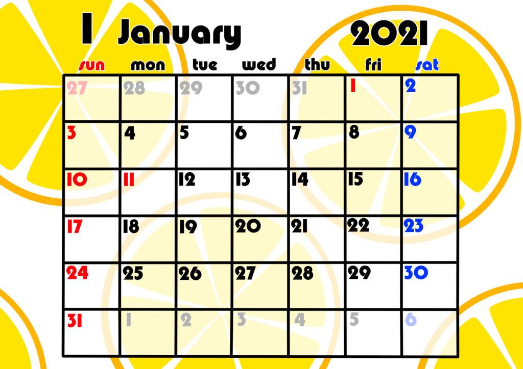 2021年月間カレンダー 果物 フルーツ 令和3年1月 オレンジ