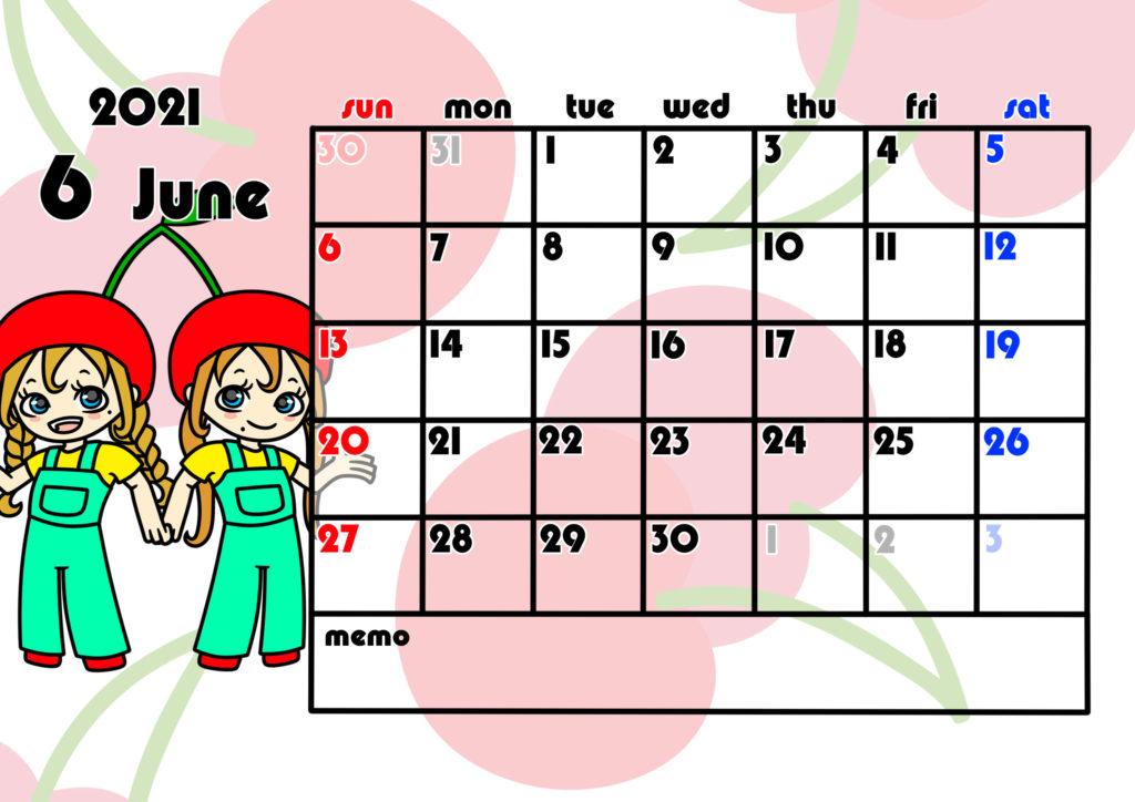 2021年月間カレンダー 季節の果物 女の子 日曜始まり 令和3年6月
