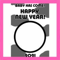 2021年 出産報告写真フレーム入り年賀状 無料テンプレート 印刷してご自由にお使いください