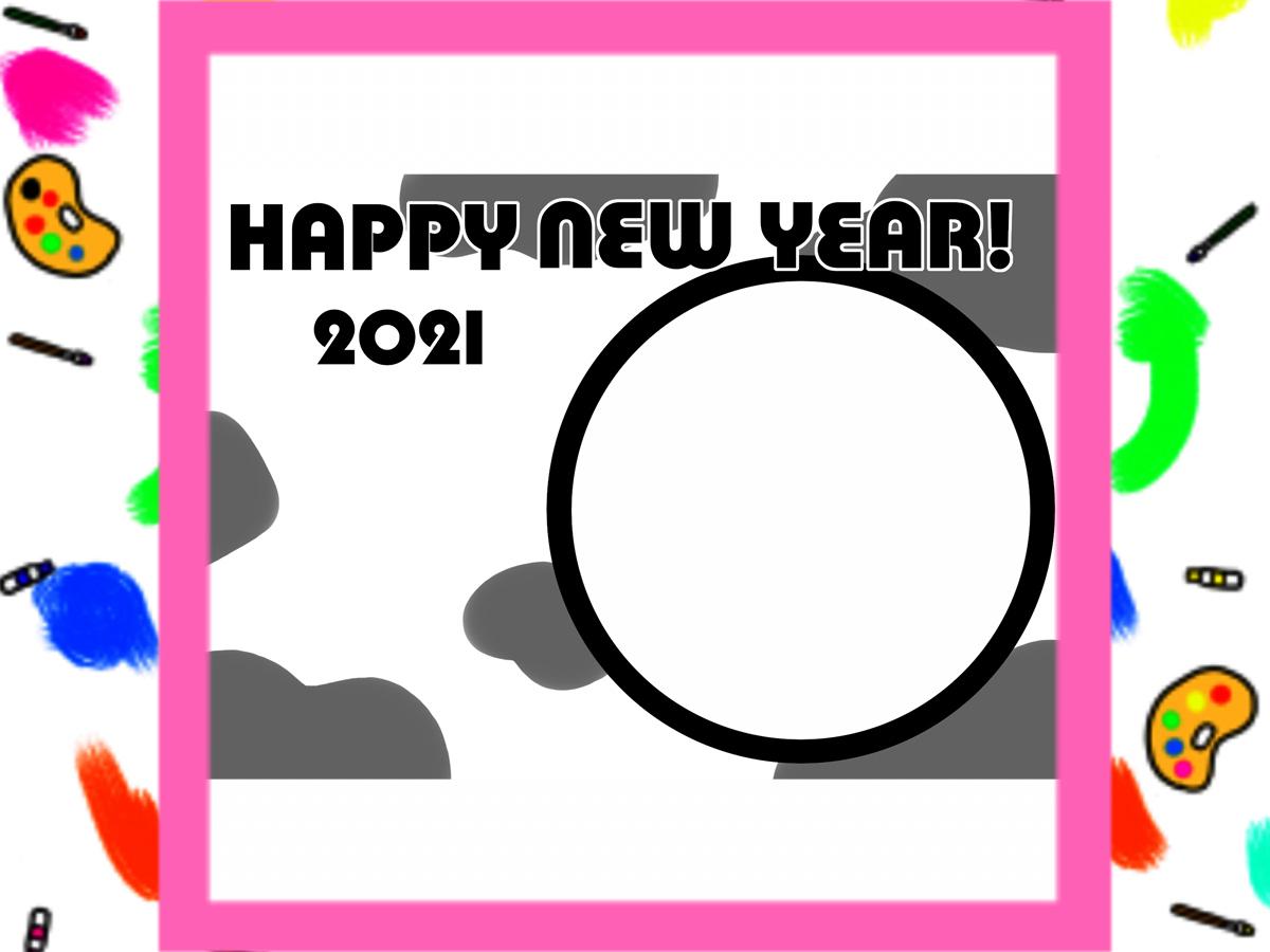 2021年 写真フレーム入り年賀状 無料テンプレート 印刷してご自由にお使いください