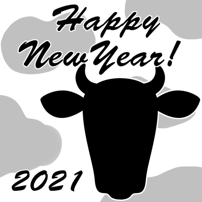 ラインスタンプ風 2021年年賀状 無料ダウンロード 牛 モノクロ