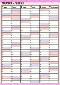 令和3年4月年間スケジュール10月~3月 かわいい ガーリーデザイン