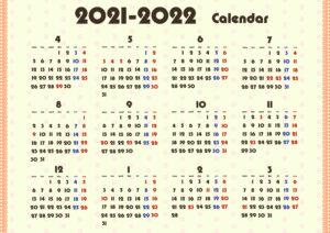 2021年4月始まり年間カレンダー 無料ダウンロード印刷 ガーリー かわいい 月曜始まり